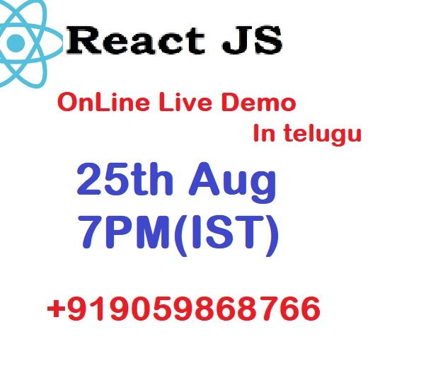 reactJs Online live demo 25th aug 2021